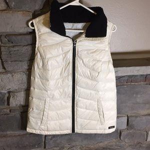 Calvin Klein White & Black Down Puffer Vest Large